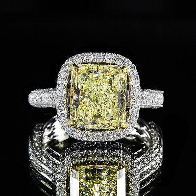3.12ctw Fancy Yellow GIA Radiant Diamond Halo Engagement Ring 18K White Gold