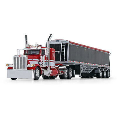 DCP RED WHITE  PETERBILT 389 36  FLATTOP LOAD KING TRI AXLE HOPPER 1/64 60-0747