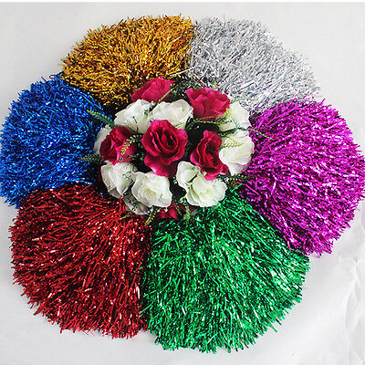 2 Pcs Various colors Cheerleading Poms Match Pom Plastic Ring Dance Supplies new - Cheerleader Supplies
