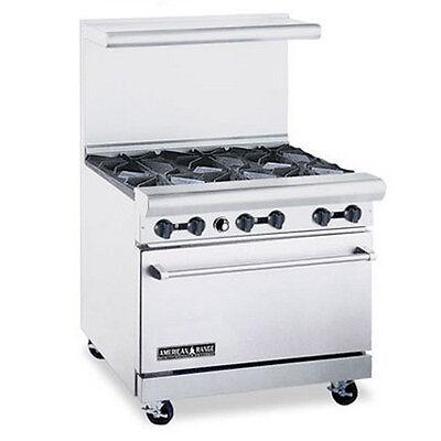 American Range 36 Commercial 6 Burner Gas Restaurant Range W Std Oven Ar-6 Ng