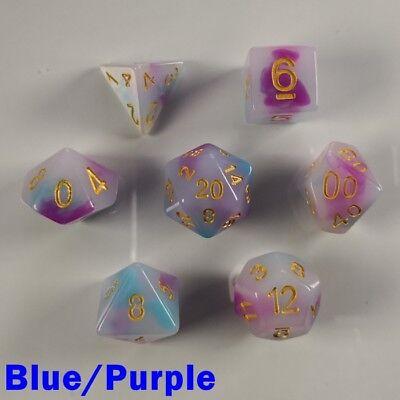 Opal Poly 7 Dice RPG Set Blue Purple Dungeons Dragons D&D DND 5e Pathfinder HD