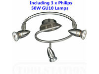 Brand New Philips Massive Spotlight 3 Ways Triple Heads Spiral Ceiling Light Lamp & 50W GU10
