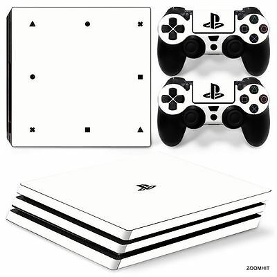 PS4 Pro Playstation 4 Skin Decal Sticker White Classic + 2 Controller...