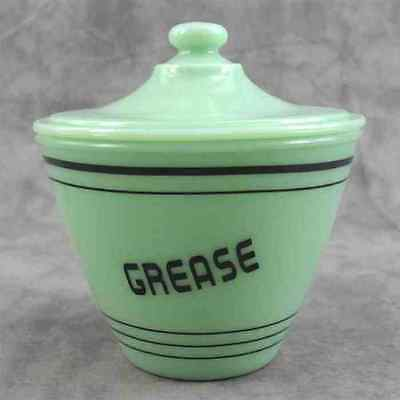 JADEITE GREEN GLASS GREASE DRIPPINGS JAR BOWL w/ LID ~BLACK BAND & LETTERS~