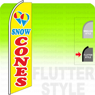 Snow Cones Swooper Flag Feather Banner Sign 11.5 Tall Flutter Style - Yb