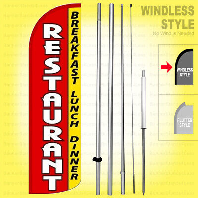 Restaurant Breakfast Lunch Dinner Windless Swooper Flag Kit 15 Feather Sign Rqh