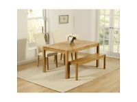 Solid Oak Dining Table, bench & 2 Chairs