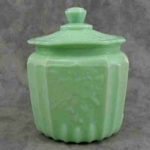 JADEITE GREEN GLASS COOKIE JAR BISCUIT CANISTER Open Rose Mayfair Floral Design