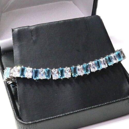 Aquamarine Tennis Bracelet Women Jewelry Gift 14K White Gold Plated