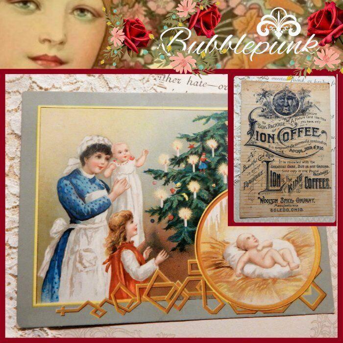 Antique LION COFFEE Woolson Spice Co Toledo Ohio Ad Trade Card Christmas Tree G