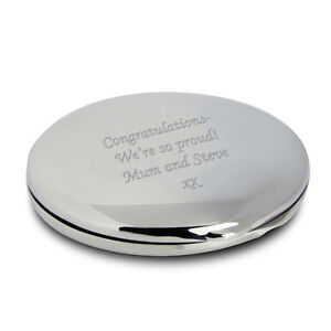 Personalised Silver Finish Round Compact Mirror -Engraved Free - Valentines, Her