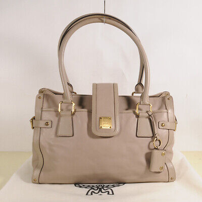 MCM Leather Shoulder Tote Bag Authentic + Dust Bag