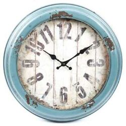 Antique Blue Distressed Metal Wall Clock Shabby Chic Elegant Home And Wall Decor
