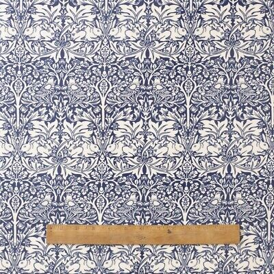 William Morris Blue Brother Rabbit 100% Cotton Floral Fabric By The Half Metre