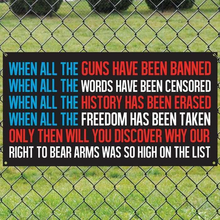 When all guns have been banned Tin Wall Sign 2nd amendment poster garage bar