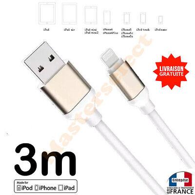 Largo Cable 3M Para IPHONE 8 9 10 11 12 IPAD Cargador...