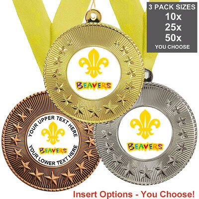 BEAVERS SCOUT METAL MEDALS 50mm, PACK OF 10 WITH RIBBONS, INSERTS, 3 PACK OPTION ()