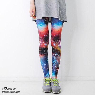 BR Women spandex rainbow space leggings galaxy graphic  pants shorts S-L