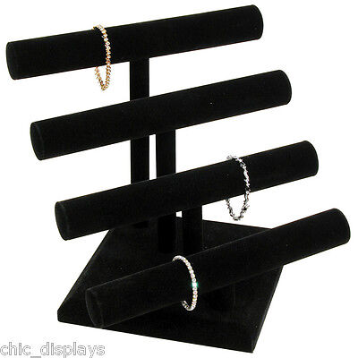 Bracelet Display Jewelry T-bar Black Display 4 Tier T Bar Velvet Display Stand