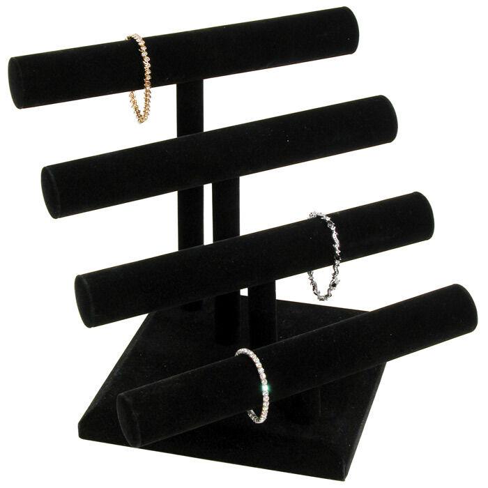 Bracelet Display Jewelry T-bar Black Display 4 Tier T Bar Velvet Display Stand