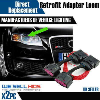 Audi A4 B7 Halogen to Bi Xenon HID Headlight Adapter DRL Wiring Loom Harness