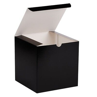 25 Gift Boxes BLACK GLOSS Wedding Favor Candy Boxes 4x4x4