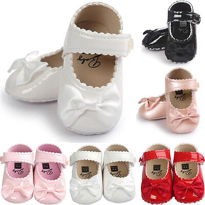 Hot Toddler Girl Crib Shoes Newborn Baby Bowknot Soft Sole Prewalker Sneakers - Only Girl Shoes