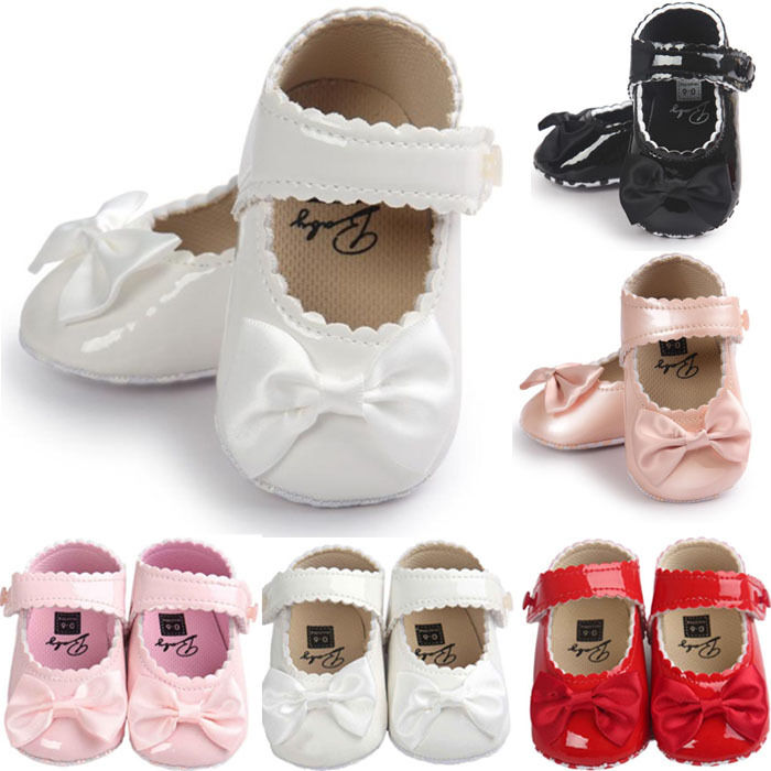 Cute Newborn Baby Girl Bowknot Leater Shoes Sneaker Anti-sli