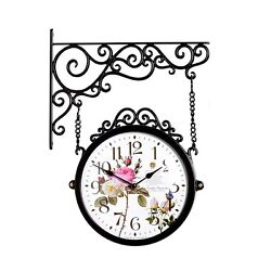 Antique Flower Double Sided Wall Clock Decor Modern Station Clock - M250BRF3