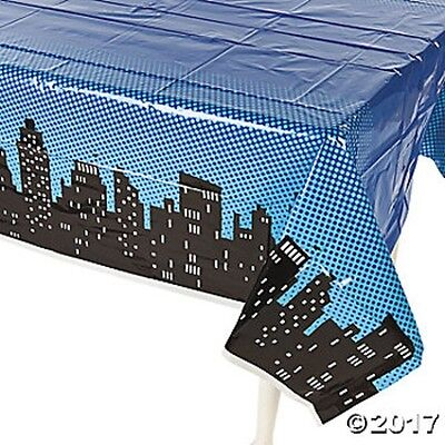Superhero Oblong Plastic Table Cover Tablecloth Kids Birthday Party Decoration