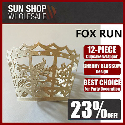 FOX RUN 12 Piece Cupcake Wrappers Cherry Blossom Design Gold! RRP $12.99! Cherry Blossom Cupcake Wrappers
