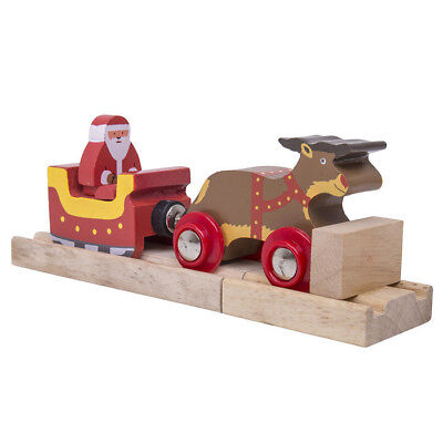 SANTA Sleigh with Reindeer Train Engine for Wooden Track ( Brio Thomas )~ NEW
