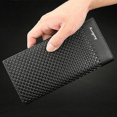 Men Bifold Leather Credit Card Holder Breast Pocket Wallet Slim Purse Checkbook Credit Card Checkbook Wallet