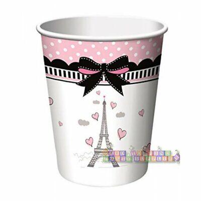 HAPPY BIRTHDAY Party in Paris 9oz PAPER CUPS (8) ~Supplies Beverage Drinking - Paris Birthday Supplies