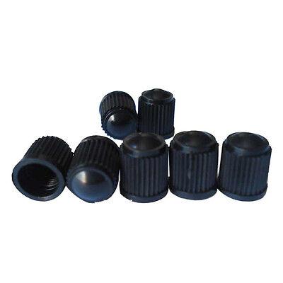 100 Black American Interface Plastic Tire Valve Stem Caps