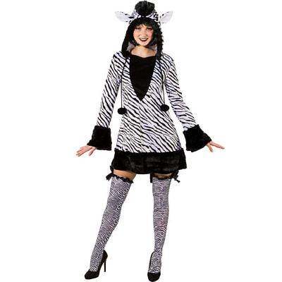 Sexy Zebrakostüm Kleid für Damen mit Kapuze, ideal - Zebra Sexy Kostüme