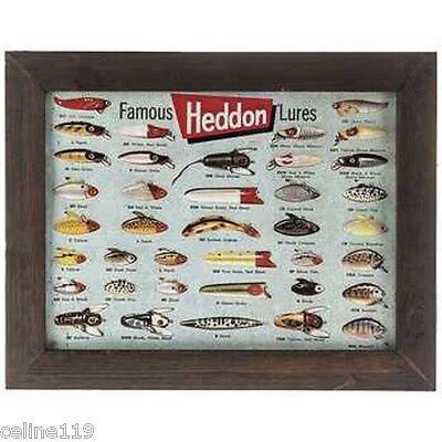 Fisherman Tin Sign Heddon Famous Fishing Lures Wall Hanging Nautical Decor NEW!