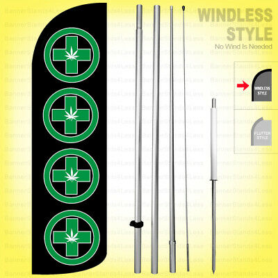 Dispensary - Windless Swooper Flag Kit 15 Feather Banner Sign  Kq-d92-h