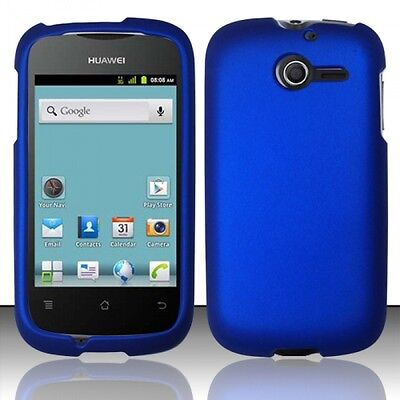 Rubberized Blue Snap - For Huawei Ascend Y H866C Rubberized HARD Case Snap On Phone Cover Blue