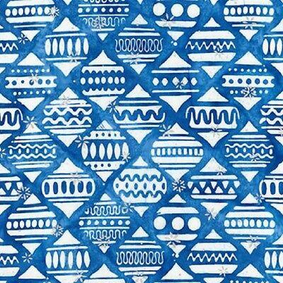 Noel 5-Batik-Blue & White Ornaments-Robert Kaufman-BTY-Christmas (Batik Ornaments)