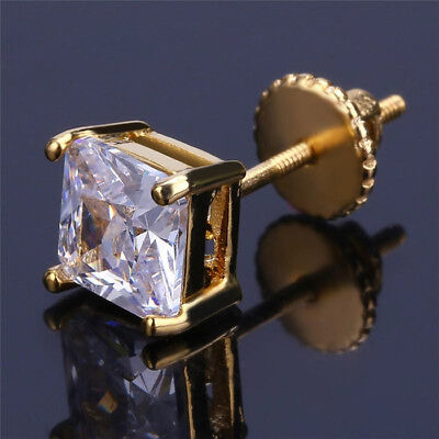 Princess Cut Square Gold Men's Diamond Stud Earrings With Screw Back Post