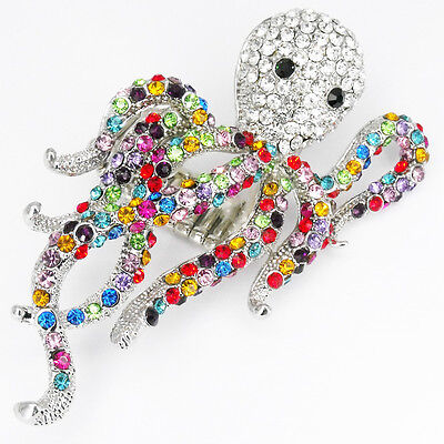 Octopus Tentacle Cthulhu Stretch Cocktail Rings Jewelry Crystals Multi-color 3""
