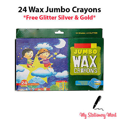 24 JUMBO Wax Crayons For Kids, Safety Glitter *2 FREE Crayons*