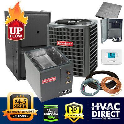 2 Ton Goodman AC/Heat System   Install Kit   Upflow, 14.5 SEER 96% AFUE 80K BTU