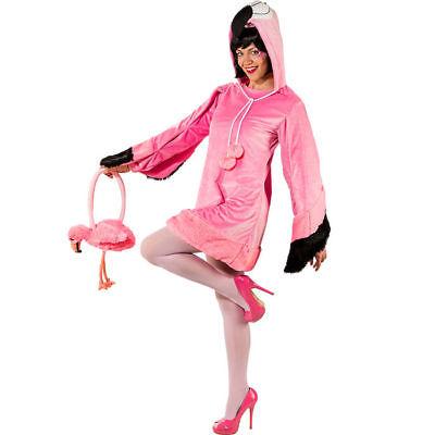Pinkes Flamingo Damen Kostüm Kleid mit Kapuze für Karneval, Fasching JGA und (Flamingo Kostüm)