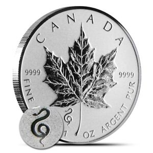 2013 Frosted Silver Maple Leaf Snake Privy Coins