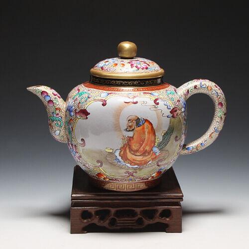 OldZiSha-Gorgeous China Yixing Zisha Pottery Old 670cc Aulic Enamel Teapot