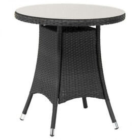 New Royalcraft Cannes Round Table - Glass Top - Ebony Black Rattan (£110)