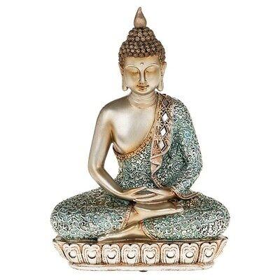 Buddha Meditieren (Thai Buddha Meditieren Sitzen Ornament Figur Statue Figur Blau & Gold 28cm)