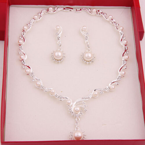 Gold Plated Silver Necklace Set 290 00: Fashion White Gold Plated Bridal Jewelry Sets Pearl Ball